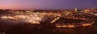 High angle view of a market lit up at dusk, Djemaa El Fna, Medina Quarter, Marrakesh, Morocco Fine Art Print
