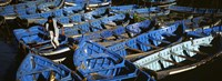 """High angle view of boats docked at a port, Essaouira, Morocco by Panoramic Images - 36"""" x 12"""""""