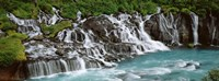 """Waterfall In A Forest, Hraunfoss Waterfall, Iceland by Panoramic Images - 36"""" x 12"""""""