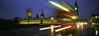 """England, London, Houses of Parliament, Traffic moving in the night by Panoramic Images - 36"""" x 12"""""""
