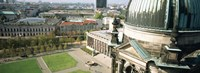 """High angle view of a formal garden in front of a church, Berlin Dome, Altes Museum, Berlin, Germany by Panoramic Images - 36"""" x 12"""""""