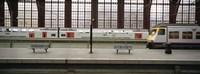 Trains at a railroad station platform, Antwerp, Belgium Fine Art Print