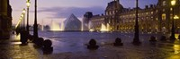 """Buildings lit up at night, Louvre Museum, Paris, France by Panoramic Images - 36"""" x 12"""""""