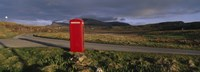 Telephone Booth In A Landscape, Isle Of Skye, Highlands, Scotland, United Kingdom Fine Art Print