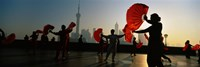 Silhouette Of A Group Of People Dancing In Front Of Pudong, The Bund, Shanghai, China Fine Art Print