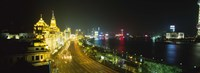 "Buildings Lit Up At Night, The Bund, Shanghai, China by Panoramic Images - 36"" x 12"""