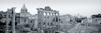 Ruins Of An Old Building, Rome, Italy (black and white) Fine Art Print