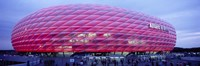 Soccer Stadium Lit Up At Dusk, Allianz Arena, Munich, Germany Fine Art Print