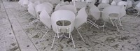 """Plastic Chairs Around Tables In A Restaurant, Stuttgart, Baden-Wurttemberg, Germany by Panoramic Images - 36"""" x 12"""", FulcrumGallery.com brand"""
