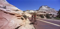 """Two people cycling on the road, Zion National Park, Utah, USA by Panoramic Images - 36"""" x 18"""" - $34.99"""