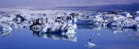 "Glaciers floating on water, Jokulsa River, Breidamerkursandur, Jokulsarlon Glacial Lagoon, Vatnajokull, Iceland by Panoramic Images - 36"" x 12"""