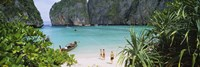 High angle view of tourists on the beach, Mahya Beach, Ko Phi Phi Lee, Phi Phi Islands, Thailand Fine Art Print