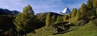 Low angle view of a mountain peak, Matterhorn, Valais, Switzerland Fine Art Print