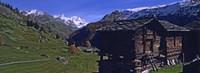 Log cabins on a landscape, Matterhorn, Valais, Switzerland Fine Art Print