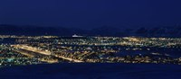 "High angle view of city lit up at night, Reykjavik, Iceland by Panoramic Images - 36"" x 12"""