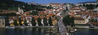 "High angle view of tourists on a bridge, Charles Bridge, Vltava River, Prague, Czech Republic by Panoramic Images - 36"" x 12"""