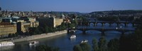 "High angle view of bridges across a river, Charles Bridge, Vltava River, Prague, Czech Republic by Panoramic Images - 36"" x 12"""