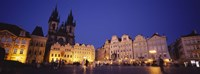 "Buildings lit up at dusk, Prague Old Town Square, Old Town, Prague, Czech Republic by Panoramic Images - 36"" x 12"""