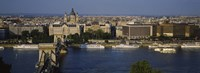 """Buildings at the waterfront, Chain Bridge, Danube River, Budapest, Hungary by Panoramic Images - 36"""" x 12"""""""