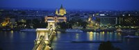 """High angle view of a suspension bridge lit up at dusk, Chain Bridge, Danube River, Budapest, Hungary by Panoramic Images - 36"""" x 13"""""""