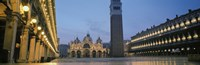 "Cathedral lit up at dusk, St. Mark's Cathedral, St. Mark's Square, Venice, Veneto, Italy by Panoramic Images - 36"" x 12"""
