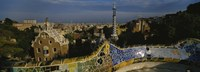 High angle view of a city, Parc Guell, Barcelona, Catalonia, Spain Fine Art Print