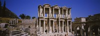 Tourists in front of the old ruins of a library, Library At Epheses, Ephesus, Turkey Fine Art Print
