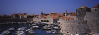 High angle view of boats at a port, Old port, Dubrovnik, Croatia Fine Art Print