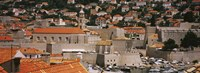 High angle view of a town, Old port, Dominican Monastery to the left, Dubrovnik, Croatia Fine Art Print