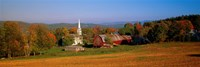 """Church and a barn in a field, Peacham, Vermont, USA by Panoramic Images - 36"""" x 12"""""""