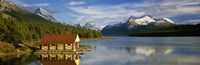 Boathouse at the lakeside, Maligne Lake, Jasper National Park, Alberta, Canada Fine Art Print