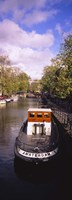 """Tourboat docked in a channel, Amsterdam, Netherlands by Panoramic Images - 12"""" x 36"""""""