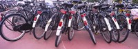 """Bicycles parked in a parking lot, Amsterdam, Netherlands by Panoramic Images - 36"""" x 12"""""""