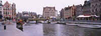 """Tour boats docked at a harbor, Leie River, Graslei, Ghent, Belgium by Panoramic Images - 36"""" x 12"""""""