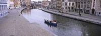 """High angle view of a boat in a river, Leie River, Graslei, Korenlei, Ghent, Belgium by Panoramic Images - 36"""" x 12"""""""