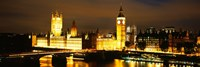 """Buildings lit up at night, Westminster Bridge, Big Ben, Houses Of Parliament, Westminster, London, England by Panoramic Images - 36"""" x 12"""""""