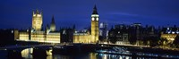 Buildings lit up at dusk, Westminster Bridge, Big Ben, Houses Of Parliament, Westminster, London, England Fine Art Print
