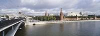 "Bridge across a river, Bolshoy Kamenny Bridge, Grand Kremlin Palace, Moskva River, Moscow, Russia by Panoramic Images - 36"" x 12"""