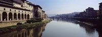 "Buildings along a river, Uffizi Museum, Ponte Vecchio, Arno River, Florence, Tuscany, Italy by Panoramic Images - 36"" x 12"""