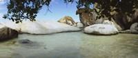 "Rocks in water, The Baths, Virgin Gorda, British Virgin Islands by Panoramic Images - 36"" x 12"""