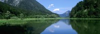 """Mountains overlooking a lake, Weitsee Lake, Bavaria, Germany by Panoramic Images - 36"""" x 12"""" - $34.99"""