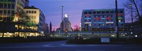 """Buildings lit up at dusk, Karlsplatz, Munich, Bavaria, Germany by Panoramic Images - 36"""" x 12"""" - $34.99"""