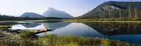 Reflection of mountains in water, Vermillion Lakes, Banff National Park, Alberta, Canada Fine Art Print