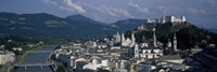 High angle view of a castle on top of a mountain, Hohensalzburg Fortress, Salzach River, Salzburg, Austria Fine Art Print
