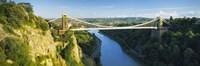 "Bridge across a river, Clifton Suspension Bridge, Avon Gorge, Bristol, England by Panoramic Images - 36"" x 12"""