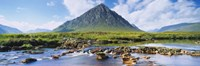 River with a mountain in the background, Buachaille Etive Mor, Loch Etive, Rannoch Moor, Highlands Region, Scotland Fine Art Print