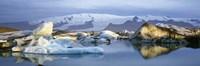 "Icebergs on Jokulsarlon lagoon, water reflection, Vatnajokull Glacier, Iceland. by Panoramic Images - 36"" x 12"""