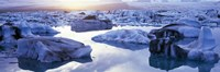 "Icebergs on Jokulsarlon lagoon, Vatnajokull Glacier, Iceland. by Panoramic Images - 36"" x 12"""