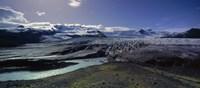 Glaciers in a lake, Vatnajokull, Fjallsarlon, Jokulsarlon Lagoon, Iceland Fine Art Print
