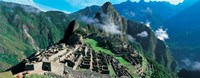 High angle view of ruins of ancient buildings, Inca Ruins, Machu Picchu, Peru Fine Art Print